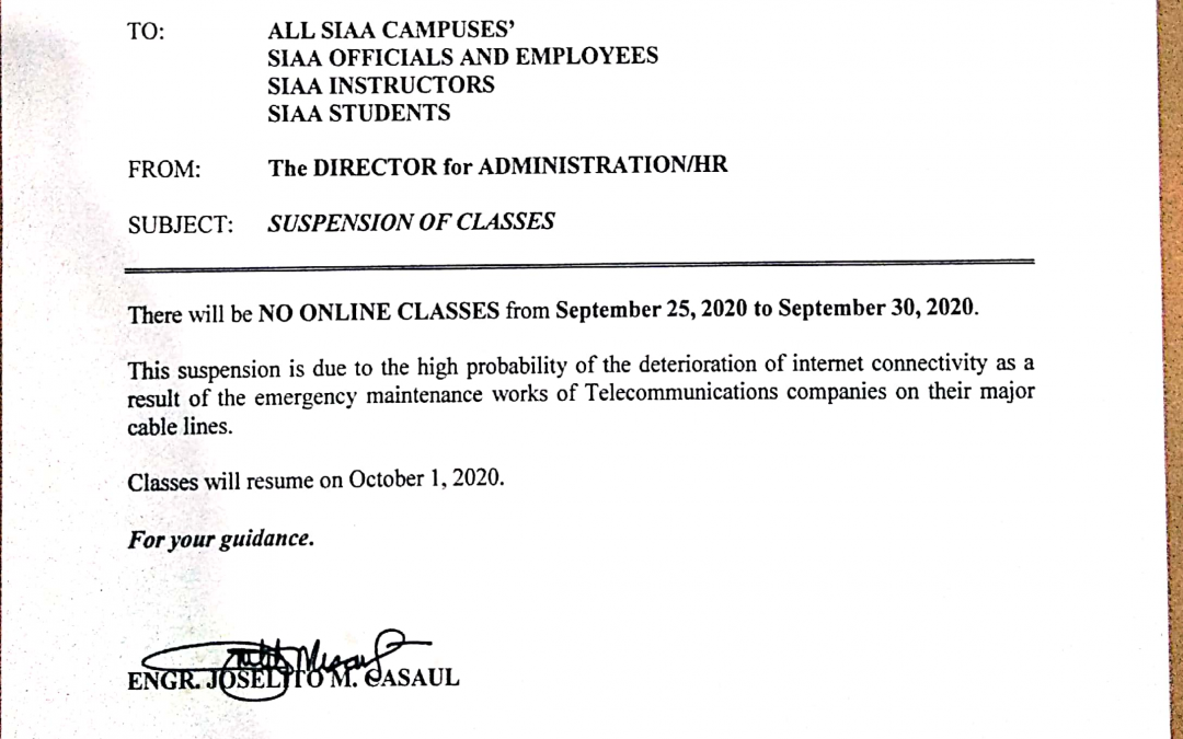 NO CLASSES SEPT 25 – OCT 1, 2020